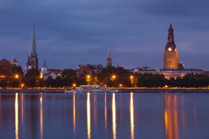 Night Riga cityscape
