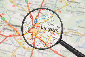 Destination - Vilnius (with magnifying glass)